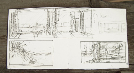 sketches for the animated science fiction short film Echoes