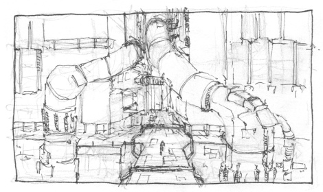concept sketch for animated science fiction short film by John Brito