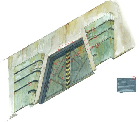 watercolour texture for science fiction gate by John Brito