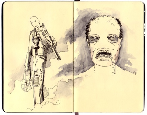 concept sketch for the science fiction horror movie The Wendigo Effect directed by John Brito