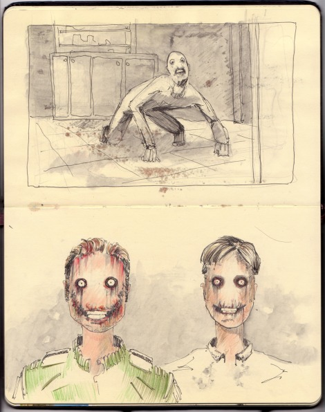 sketch of science fiction horror film characters