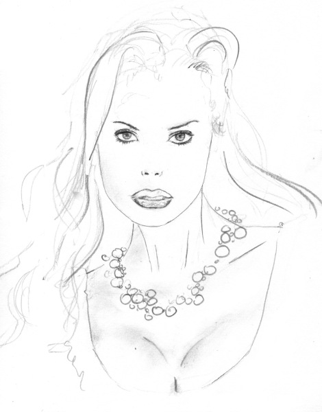 sketch beautiful woman