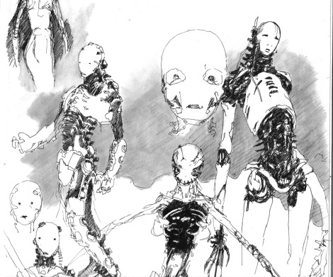 sketch science fiction cyborgs
