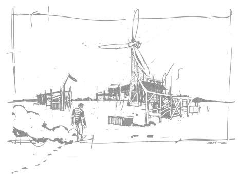 postapocalyptic wasteland shelter vector illustration