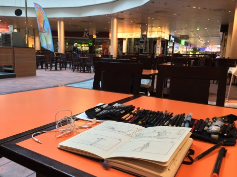 making storyboard for horror short film at cineplex food court