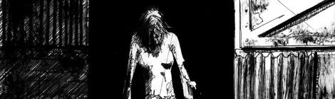 inked mood sketch for horror film The Wendigo effect by John Brito