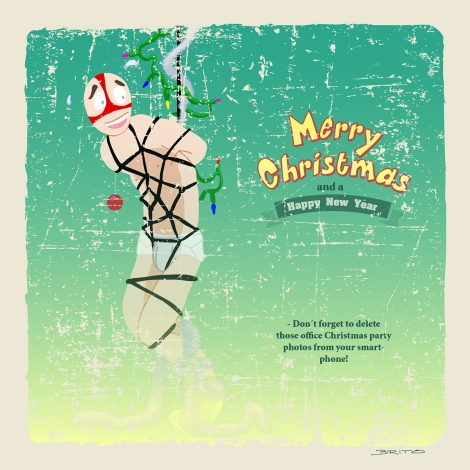 Merry Christmas semi-nude cartoon