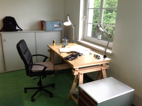 artist´s working place drawing table