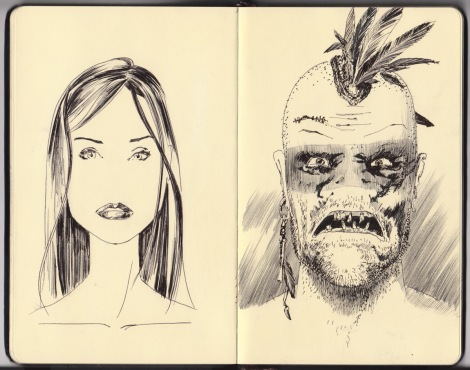 director John E. Brito's sketch for a postapocalyptic cannibal film