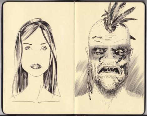 director John E. Brito's sketch for a postapocalyptic cannibal film