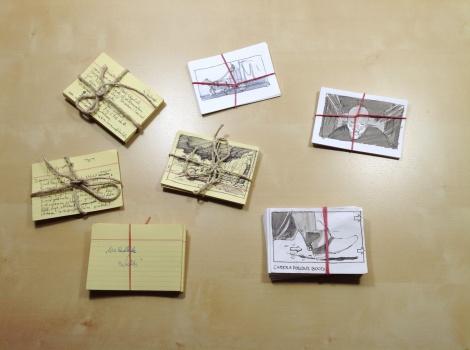 director John E. Brito's index cards for film scripts