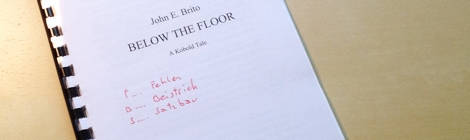 manuscript of the children's book fantasy fairytale Below the Floor by John E. Brito
