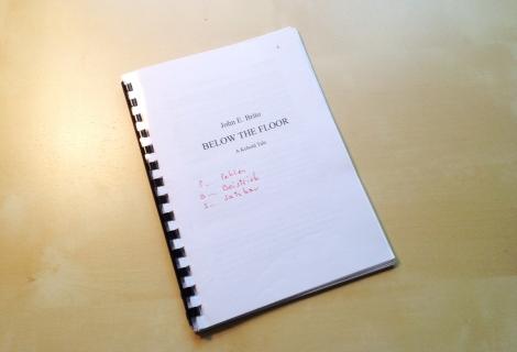 manuscript of the children's book fantasy fairytale Below the Floor by John E. Brito