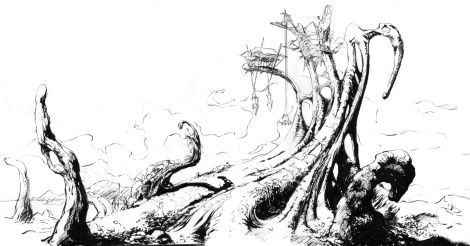 awesome ink illustration depicting science fiction environment and huge tree by author and director John E. Brito