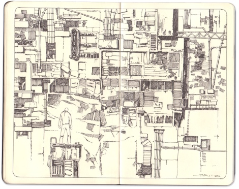 post apocalyptic city wall illustration in a Moleskine sketchbook by John E. Brito
