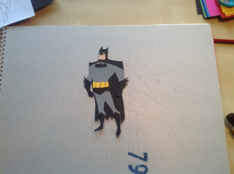 Batman paper cutout illustration by children`s book author John E. Brito