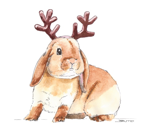 Merry Christmans reindeer bunny watercolour illustration by director John E. Brito