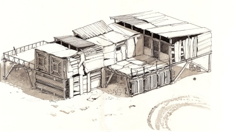 illustration of a post apocalyptic shed by John E. Brito