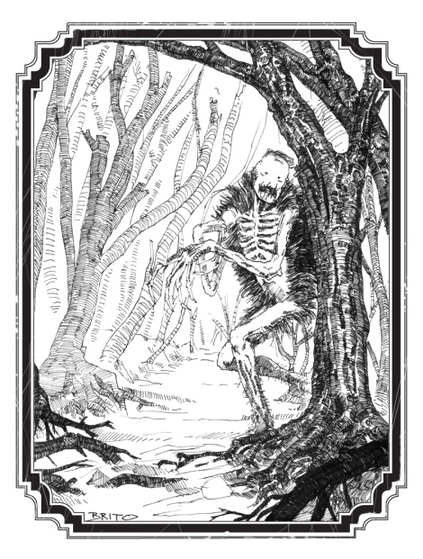 ultra short scary story by John E. Brito, illustrated with pen and ink