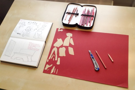 creating a paper cut illustration by children`s book author John E. Brito