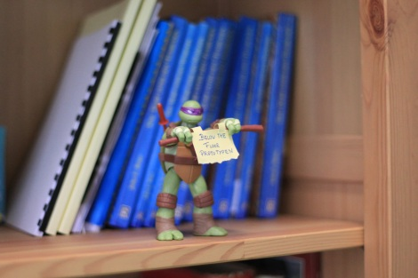 Writer artist John E. Brito´s workspace with TMNT figure