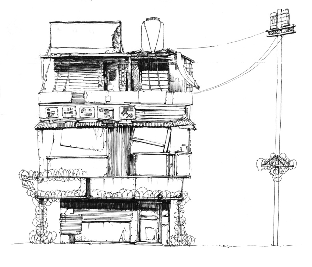 ink illustration by author and filmmaker John E. Brito of a postapocalyptic building