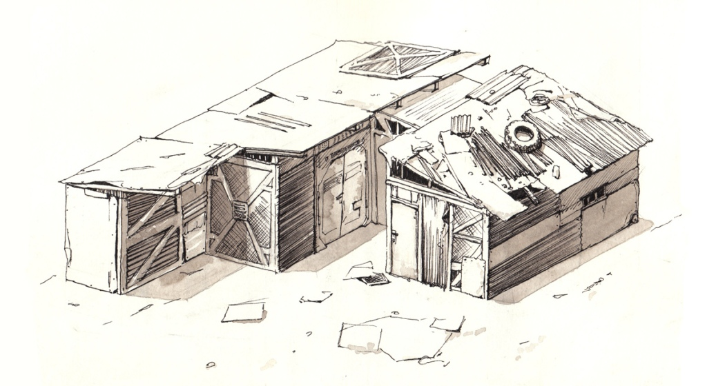 ink pen illustration of a post apocalyptic shed home by author and filmmaker John E. Brito