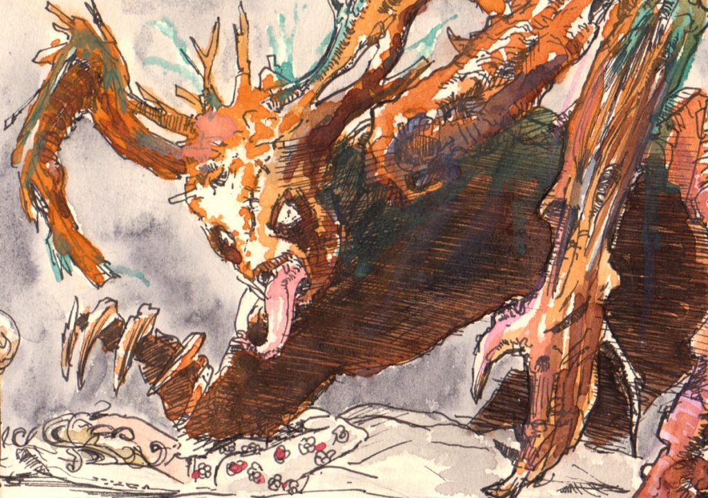 ink and watercolour illustration of a phran for an illustrated fantasy chikdren´s book by author and filmmaker John E. Brito